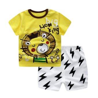 Harga Bear Fashion Baby Girls Boys Lion King Clothing Kids Summer Clothes 2pcs Set Suit - intl