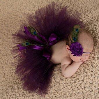 HengSong 30วันทารกแรกเกิดประกอบภาพถ่ายชุดกระโปรงกระโปรงเด็กชุดเจ้าหญิงแฟชั่นสีม่วง
