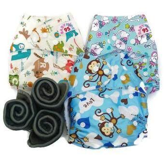 BABYKIDS95 กางเกงผ้าอ้อมกันน้ำ+แผ่นซับชาโคล Size:3-16กก. เซ็ท3ตัว (ABC Animal, Blue Monkey Blue Cat)