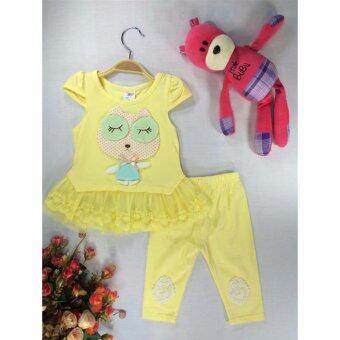 ple shop เสื้อลายการ์ตูนแต่งชายผ้าลูกไม้+กางเกงเลคกิ้ง สีเหลือง