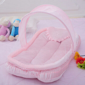 YBC Portable Folding Baby Mosquito Nets Cradle Bed Sleeping Cribs Pink - intl
