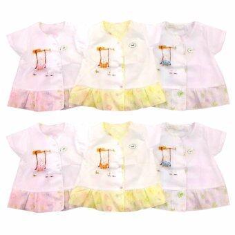 Baby Heart เสื้อเด็กแรกเกิด เสื้อผ้าป่าน แพ็ค 6 ตัว ขนาด 0-3 เดือน