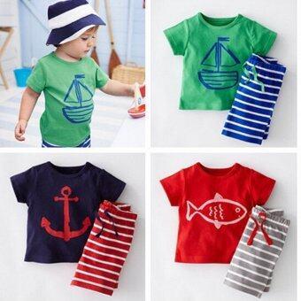 พวกเด็ก ๆ ชวนซัมเมอร์แฟชั่น 2ชิ้นผ้าพิมพ์ลายการ์ตูนชุดเรือโจรสลัดแขนสั้นเสื้อยืด+กางเกงสี (สี: สีเขียว)