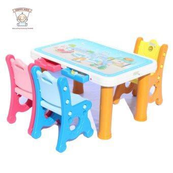 Thaiken โต๊ะเด็ก เก้าอี้ 3 ตัว (Orange)