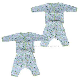 Babi Care ชุดเด็กอ่อนแขนยาว แบบกระดุมหน้า+กางเกงต่อเป้า เเรกเกิด สีเขียว (2 ชุด)