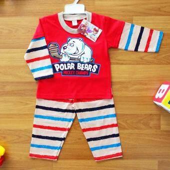 Baby Elegance ไซส์ 3 (12-18 เดือน) ชุดนอน เด็กผู้ชาย เซ็ต 2 ชิ้น เสื้อแขนยาวลายหมีขาวเล่นฮอกกี้ กางเกงขายาว