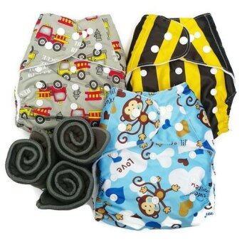 BABYKIDS95 กางเกงผ้าอ้อมกันน้ำ+แผ่นซับชาโคล Size:3-16กก. เซ็ท3ตัว (Grey Fire truck, Bee, Blue Monkey)