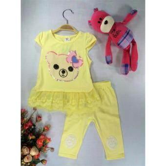 ple shop เสื้อปักเลื่อมลายหมีแต่งชายลูกไม้+กางเกงเลคกิ้ง สีเหลือง