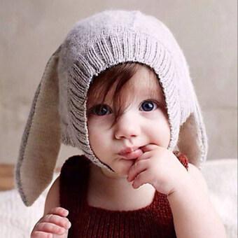 หูกระต่ายถักไหมพรมเด็กทารกหมวกฤดูหนาว (สีเทา) (image 1)