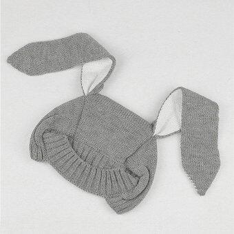 หูกระต่ายถักไหมพรมเด็กทารกหมวกฤดูหนาว (สีเทา) (image 4)