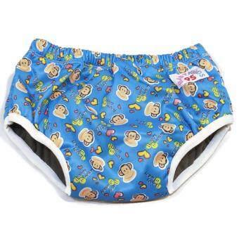 BABYKIDS95 Day Pant ชาโคล ผ้าอ้อมเอวสวม กันน้ำ A19 Size L รอบเอว 16-26 นิ้ว (Monkey-Blue)