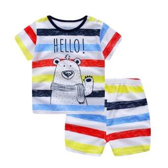 Harga Bear Fashion Baby Girls Boys Colorful Hello Clothing Kids Summer Cat Clothes 2pcs Set Suit - intl