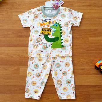 Baby Elegance ไซส์ 1 (3-6 เดือน) ชุดนอน เด็กผู้ชาย เซ็ต 2 ชิ้น เสื้อแขนสั้นลายไดโนเสาร์กินอาหาร กางเกงขายาว