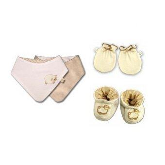 Babymio ชุดของใช้เด็กแรกเกิด ผ้ากันเปื้อน ถุงมือ ถุงเท้า