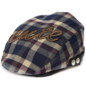 Fashion Spring Autumn Baby Kids Toddler Plaid Beret Cap Hat Cap - intl