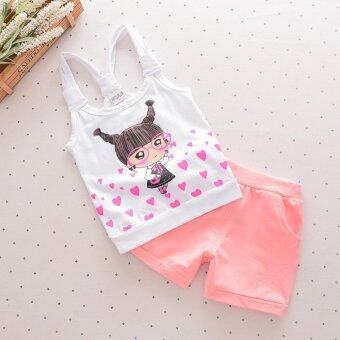 Harga Bear Fashion Baby Lovely Heart Girls Sweet Clothing Kids Summer Clothes 2pcs Set - intl