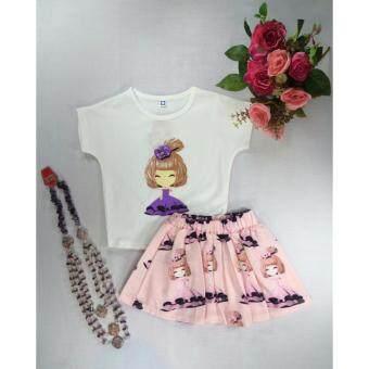 ple shop เสื้อยืดเข้าขุดกระโปรงสกรีนลายสีชมพู