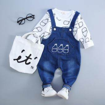 Harga Bear Fashion Kids Boys Girls Milk Bottle Clothing Sets T-shirt Pant 2Pcs Baby Sets - intl