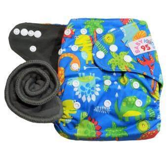 BABYKIDS95 กางเกงผ้าอ้อมชาโคลขอบปกป้อง +แผ่นซับชาโคล (Dinosaur-Blue)