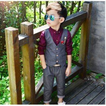 ชุดเด็กผู้ชาย เรียบหรูดูดี สีเทาเข้ม เสื้อกั๊ก+กางเกง ไม่รวมเสื้อเชิ๊ต ขนาด 100 เหมาะกับเด็ก 3-4 ขวบ