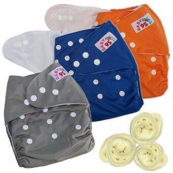 กางเกงผ้าอ้อมกันน้ำ+แผ่นซับไมโครฯ Size:3-16กก. เซ็ท3ตัว (Orange/Dark Blue/Grey)