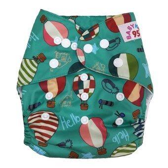 BABYKIDS95 กางเกงผ้าอ้อมซักได้ ชนิดกันน้ำ รุ่นดีลักส์ ไซส์เด็ก 3-16กก. (สีเขียวลายบอลลูน)