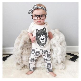 Little Monster เสื้อ+กางเกงเข้าชุด สีขาว สำหรับเด็กอายุ 6-18 เดือน