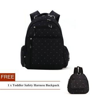 ลายจุดขนาดใหญ่ความจุผ้าอ้อมเด็กผ้าอ้อมกระเป๋าเป้กระเป๋าแม่+ฟรีกระเป๋าเป้เด็กนิรภัย (สีดำ)