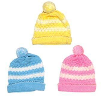 P&K ชุดเด็กแรกเกิด เซ็ทไหมพรม หมวกน้อยหน่า ฟ้า เหลือง ชมพู สำหรับเด็กแรกเกิด - 3 เดือน