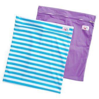 BABYKIDS95 ถุงผ้ากันน้ำ 1 ช่อง สำหรับใส่ผ้าอ้อม หรือผ้าเปียก เซ็ท 2 ชิ้น (ลายทางฟ้าขาว/สีม่วงเข้ม)