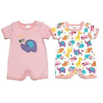 LITTLE BABY M เสื้อผ้าเด็กเล็ก ชุดหมีแพ็คคู่ ลายช้างชมพู
