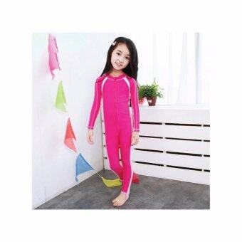 ชุดว่ายน้ำเด็ก Kids Sunscreen Elastic water suit เต็มตัว แขนยาว+ขายาว สีชมพู - ขาว XXXXL