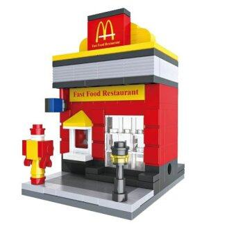 HSANHE Mini Street Fast Food Restaurant Legoเลโก้ร้านอาหาร