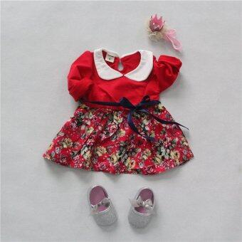 แฟชั่นฤดูใบไม้ผลิดอกไม้น้อย ๆ เด็กสาวแต่งตัวแบบแขนเสื้อผ้าสีแดง-ระหว่างประเทศ