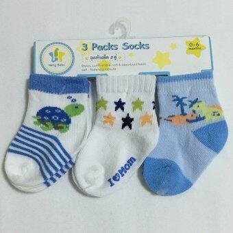 Baby ถุงเท้าเด็กแรกเกิด - 6เดือน set 3คู่ สีฟ้าขาว