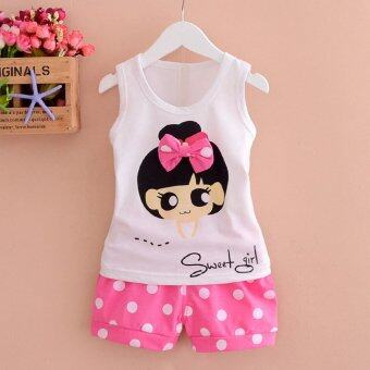 Harga Bear Fashion Baby Sweet Girls Clothing Kids Summer Clothes 2pcs Set Suit - intl