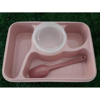 Baby Station กกล่องอาหารเด็ก พกพา 4ช่อง พร้อมถ้วยซุป และช้อน สีชมพู