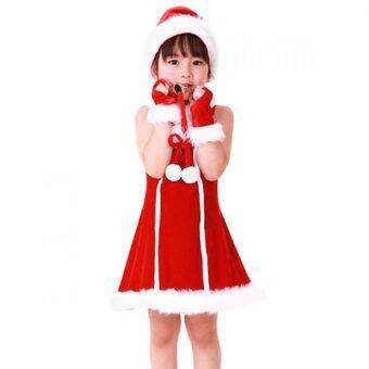 Dress santy ชุดเดรสซานตาครอสเด็กผู้หญิง แขนกุด - สีแดง