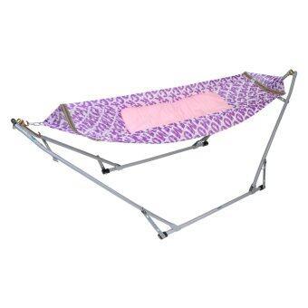 Banmai เปลญวนเด็ก Premium (ลายสีม่วง) พร้อมเบาะนอนเด็ก (สีชมพู)