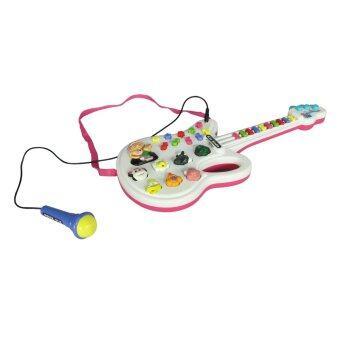 SCM Shop ของเล่นเด็กเล็ก ของเล่นทำนองเพลง เสียงสัตว์ กีต้าร์ พร้อมไมโครโฟน สีชมพู