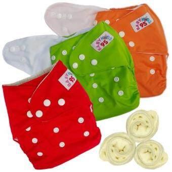 กางเกงผ้าอ้อมกันน้ำ+แผ่นซับไมโครฯ Size:3-16กก. เซ็ท3ตัว (Orange/Green/Red)