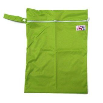 BABYKIDS95 ถุงผ้ากันน้ำ 1 ช่อง หูจับกระดุม Size: 34x40 cm. สำหรับใส่ผ้าอ้อม หรือผ้าเปียก สีพื้น A21 (สีเขียว)
