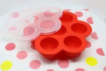 ชุดถาดซิลิโคนฟรีซเก็บอาหารเด็กอ่อน มีฝาปิด สีแดง