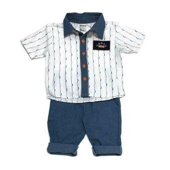ฺBaby เซ็ทเสื้อผ้าเด็กชาย 2ชิ้น เสื้อเชิ๊ตแขนสั้น + ยีนส์