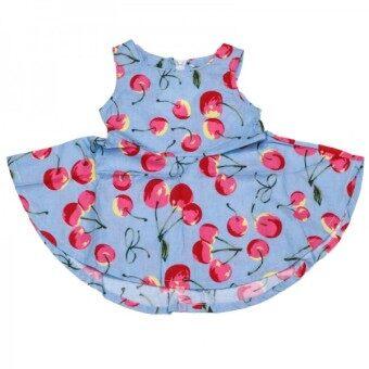 ชุด Dress แขนกุด สีฟ้า ลายเชอรี่