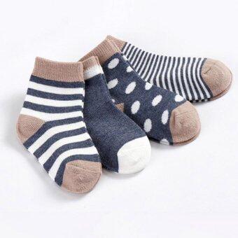 Baby Touch ถุงเท้าเด็ก ยาวบาง เซตทูโทน 4 คู่ (น้ำเงิน)