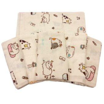 Baby heart ผ้าอ้อมสาลูญี่ปุ่น 24'' แพ็ค 6 ผืน (ลายแมว)