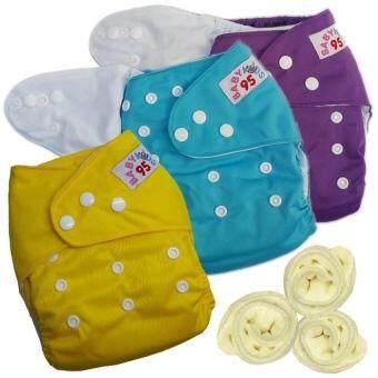 กางเกงผ้าอ้อมกันน้ำ+แผ่นซับไมโครฯ Size:3-16กก. เซ็ท3ตัว (Purple/Blue/Yellow)(Multicolor Others)