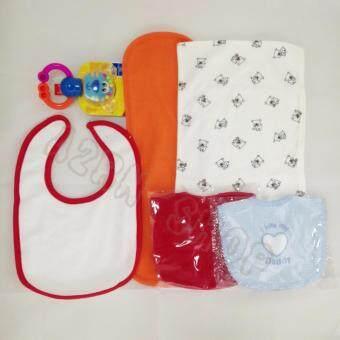 OEM ชุด D ผ้าพาดบ่าเด็กสีขาว&ส้ม 2 ชิ้น+ผ้ากันเปื้อนเด็กสีขาวแดงฟ้า 3 ชิ้น (คละสีตามรูป)