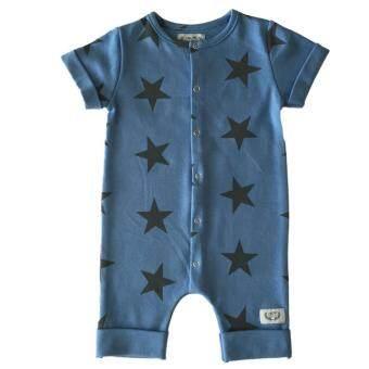 ชุดบอดี้สูทเด็กอ่อน สีฟ้า ลายดาว ออแกนิค บริสุทธิ์ 100% /Blue Star Baby Suit in Organic Cotton